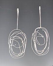 Long Birdsnest Earrings by Lori Gottlieb (Silver Earrings)