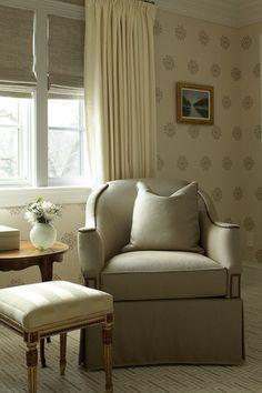 Bedroom Window Treatments via ML Interior Design Damask Wallpaper Living Room, Linen Bedroom, Bedroom Seating, Cozy Corner, Home Accents, Architecture Design, Love Seat, New Homes, Interior Design