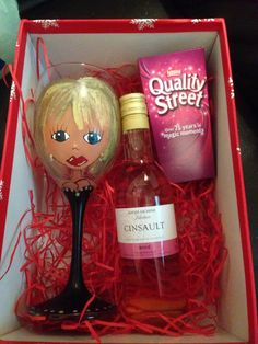 Ladies gift box wine chocolates and personalised glass