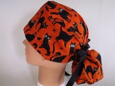 a1458101ed7393 Glow in the Dark Cats Orange Ponytail - Womens lined surgical scrub cap,  scrub hat