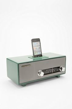mid-century radio design iPhone/iPod dock. Sweet mother of god.... Does it come in pink! David I really love this