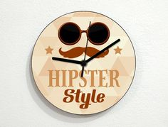 Hipster Style  Wall Clock by inPhoenixArt on Etsy