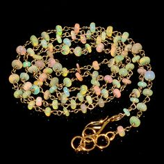 """24CRTS 3to3.5MM 24"""" ETHIOPIAN OPAL RONDELLE BEADS CHAIN NECKLACE OBI1551 #OPALBEADSINDIA"""