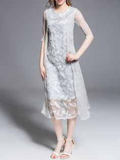 Gray Casual Crew Neck Embroidered Polyester Midi Dress