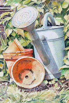 Garden pots and watering can Joël SIMON Watercolor Journal, Watercolor Drawing, Watercolor Landscape, Watercolour Painting, Watercolor Flowers, Painting & Drawing, Watercolors, Art Aquarelle, Garden Illustration