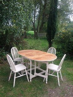 Vintage Solid Oak Gate Leg Drop Leaf Table U0026 4 By PrettyUnique123