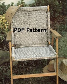 Macrame Chair Pattern Vintage 1980's Herringbone Design