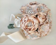 All blush wedding bouquet by Emici Bridal Love all the sparkly accents!