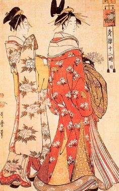 Illustration from `The Twelve Hours of the Green Houses', c.1795 (colour woodblock print) Kitagawa Utamaro - Ukiyo-e