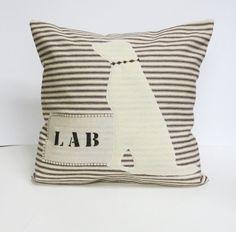 White Lab Pillow Cover  Decorative Pillow by ecarlateboutique