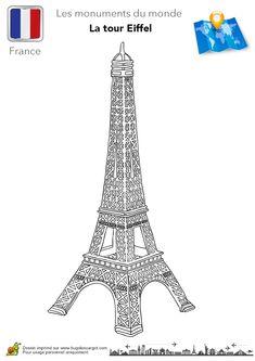 Coloriage de la Tour Eiffel, un célèbre monument en France.