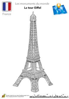 Coloriage france tour eiffel sur Hugolescargot.com - Hugolescargot.com