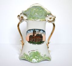 Marion Kansas Souvenir Vase, Court House Memorabilia, Made in Germany, Green Porcelain Souvenir Vase, Gold Accents by vintagebarrel on Etsy