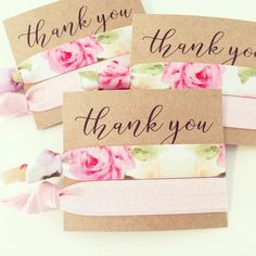 Hair Tie Bridesmaid Gift  Pink Floral Hair Tie Gifts by LoveMiaCo
