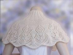 Poncho Knitting Patterns, Shawl Patterns, Hand Knitting, Bridal Shawl, Wedding Shawl, Knitted Capelet, Winter Accessories, Boho, Lana