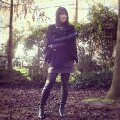 Cap coat, Long Leather gloves and overknee boots
