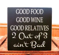 Humorous wooden sign Good food Good wine by freelandfolkartsigns