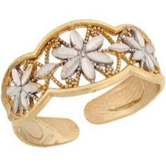 Two-Toned 14k Real Gold Fancy Rhodium Flower Ladies Toe Ring Jewelry Liquidation. $130.01. Made in USA!. Made with Real 14k Gold!. Save 66% Off!