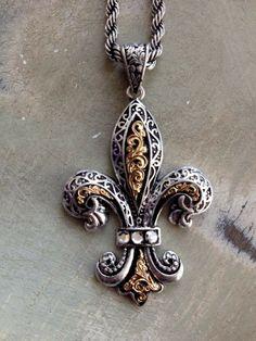 Fleur de lis fleur de lys et symbole pinterest brooches fleurty girl everything new orleans large ornate fleur de lis pendant necklace 1295 aloadofball Choice Image