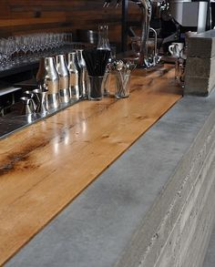 "●detail of wood + concrete counter | restaurant | ""bar agricole"" 