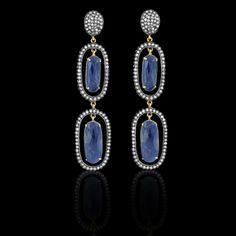 Dark Blue Sapphire & Diamond Earrings - JYOTI #color #happy #collection #blue #diamond #sapphire #earring #designer #JYOTI #couture #jewelry