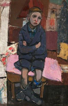 Boy on Stool by Joan Kathleen Harding Eardley Oil on canvas, 91 x 59 cm Collection: Paisley Museum and Art Galleries