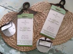 Great idea! Wedding programs and favors all in one.  Thought that this would go great. We are getting married in a church but the reception is in a beach side inn. Only problem with this idea is that these fans can be expensive! #wedding #handfan #programs #favors