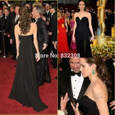Find More Celebrity-Inspired Dresses Information about Graceful Strapless A line Women Dress Front Split Floor Length Chiffon Celebrity Dress 2015,High Quality dresses only,China dresses long Suppliers, Cheap dress sophisticated from Rosemary Bridal Dress on Aliexpress.com