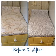 """Granite contact paper countertops before & after. (In a rental house) Now $4.44 per roll on Amazon as an """"add-on"""" item."""