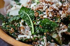 kale, quinoa and fennel salad. olive oil, honey and lemon dressing, parmesan and sunflower seeds