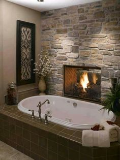 Fireplace in the bathroom.