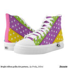 Bright ribbon polka dot pattern high tops printed shoes