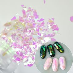Holographic Clear Purple 3d Nail Glitter Sequin Sticker Broken Glass Shape Nail Art Paillete Decoration Manicure AccessorY D8103 #Affiliate