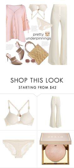"""The Prettiest Underpinnings"" by beebeely-look ❤ liked on Polyvore featuring STELLA McCARTNEY, E L L E R Y, Stila, classy, mules, sammydress, strawbags and prettyunderpinnings"