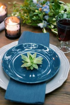 Wedding dinner in the forest - decoration by Miss Marta studio. Forest wedding 2018. Succulent and greenery wedding decor. Navy blue wedding decoration.