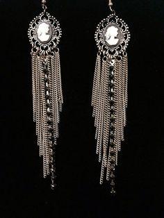 Long dangle Cameo Earrings on Etsy, $30.00