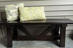 $10 Providence Bench for my Front Porch | Do It Yourself Home Projects from Ana White Entry Bench, Entry Hallway, Dining Bench, Porch Cost, Vanity Bench, Front Porch, Diy Furniture, Entryway Bench, Dining Room Bench