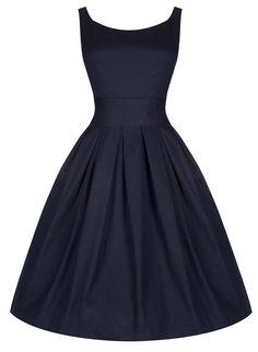 Lindy Bop 'Lana' Vintage 1950's Inspired Midnight Blue Swing Evening Dress (10, Midnight Blue)