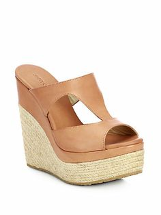 d85575a961 saksfifthavenue.com on Wanelo Wedge Mules, Wedge Sandals, Leather  Espadrilles, Jimmy Choo