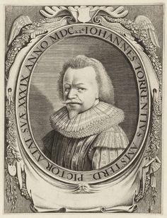 Jan van de Velde (II) | Portret van Johannes Torrentius, Jan van de Velde (II), 1628 | Portret van de Amsterdamse schilder Johannes Torrentius op 39-jarige leeftijd. Links- en rechtsonder het cartouche schilders- en tekenattributen.