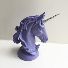 ANY COLOR Unicorn Head Table Top Statue / Faux Taxidermy / Centerpiece / Unique Gift / Bust / Nursery Decor / Girls Room / Lilac Pastel Goth by KINGFOUR on Etsy https://www.etsy.com/listing/289704145/any-color-unicorn-head-table-top-statue