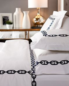 """Bedding for the Navy Blue Bedroom {Ruelala: Villa 408 """"Buckle"""" Duvet Set}"""