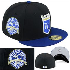 d767bad9df2 New Era Kansas City KC Royals Fitted Hat Black Royal Gold 40th Anniversary