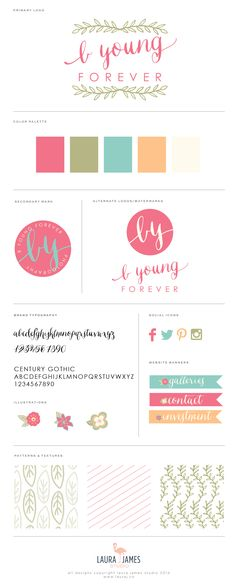 photography brand launch for b young forever by laura james studio | floral, summery, hand drawn, calligraphy, bright colors, brand guide, brand board