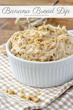 Banana Bread Dip, serve with graham crackers, nilla wafers, or apple slices.