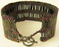 Bugle beads peyote bracelet rainbow silver and by BeadingWonders