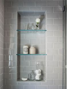 Are the glass shelves in the shower niche 2019 Beautiful serene bathroom! Are the glass shelves in the shower niche The post Beautiful serene bathroom! Are the glass shelves in the shower niche 2019 appeared first on Shower Diy. Trendy Bathroom, Bathroom Niche, Serene Bathroom, Contemporary Master Bathroom, Shower Niche, Bathroom, Remodel Bedroom, Shower Shelves, Bathrooms Remodel