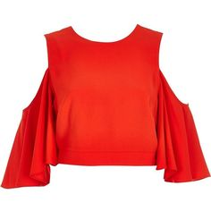 River Island Red cold shoulder trumpet sleeve top ($56) ❤ liked on Polyvore featuring tops, crop tops / bralets, red, women, sleeve top, red satin top, relaxed fit tops, cut-out shoulder tops and cold shoulder tops