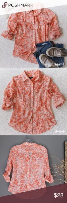 "Talbots Watercolor Floral L/S Button Down A beautiful, salmon colored top by Talbots. This tab sleeved button down has a gorgeous watercolor floral print. 100%cotton. Excellent condition. Looks great with khakis or denim. Measures: chest 18"", shoulders 15"", length 24"", sleeves 23"". Talbots Tops Button Down Shirts"