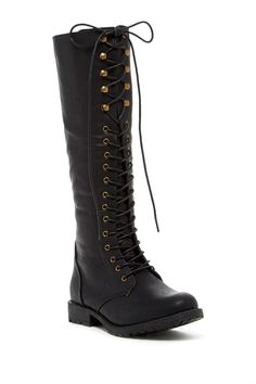 Dominique Lace-Up Tall Boot by Elegant Footwear on @HauteLook